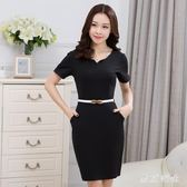 大尺碼OL洋裝 女職業裝氣質包臀裙修身短袖連衣裙 EY4463『東京衣社』