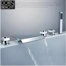 德國當代全銅座式分體浴缸龍頭五件套 缸邊瀑布浴缸淋浴花灑套裝【B款】