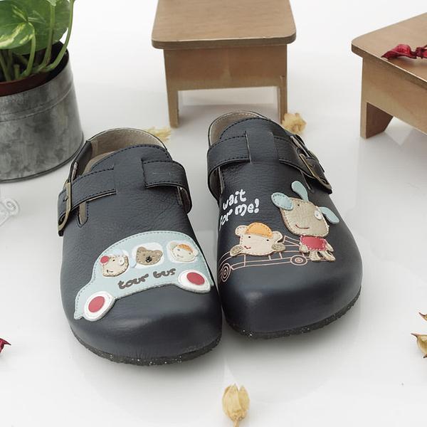 【Jingle】星球探險記前包後空軟木鞋(深藍色大人款)