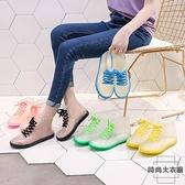 透明可愛成人短筒雨鞋女防水鞋防滑膠鞋外穿雨靴【時尚大衣櫥】