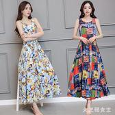 夏季新款女裝印花中長款寬鬆大碼顯瘦文藝棉麻無袖洋裝 df614【大尺碼女王】