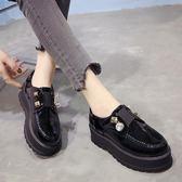 鬆糕鞋女春季2018新款學院風厚底黑色小皮鞋英倫風女鞋水?高跟鞋