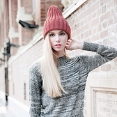 羊毛帽-韓版流行純色翻摺男女針織帽6色73id34[時尚巴黎]