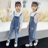 女童牛仔吊帶褲秋裝洋氣2020年新款大童兒童夏季韓版薄褲子套裝 【雙十二狂歡】