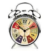 鬧鐘創意靜音夜光燈 可愛學生床頭歐式時鐘