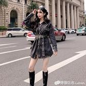 秋裝新款時尚韓版氣質網紅收腰顯瘦洋氣牛仔襯衣外套潮洋裝 雙十一全館免運