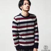 現貨羊毛針織衫 撞色條紋圓領毛衣