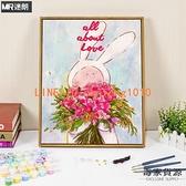 diy數字油畫油彩畫畫兒童卡通動漫兔子手繪填色手工填充涂色解悶【毒家貨源】