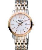 VOGUE 尊爵時尚羅馬女錶-白x雙色版 2V1407-131RG-S