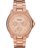 FOSSIL Cecile 羅馬時尚日曆晶鑽腕錶/手錶-玫塊金 AM4483
