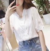 夏蕾絲雪紡襯衫女設計感小眾心機上衣短袖洋氣寬鬆襯衣仙女范 亞斯藍