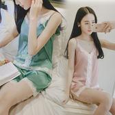 絲綢睡衣女短袖無袖冰絲兩件套裝可愛學生天性感家居服   居家物語