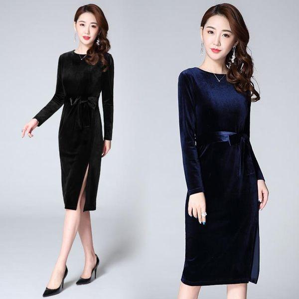 針織洋裝    性感長袖金絲絨連身裙包臀開叉禮服中長款裙