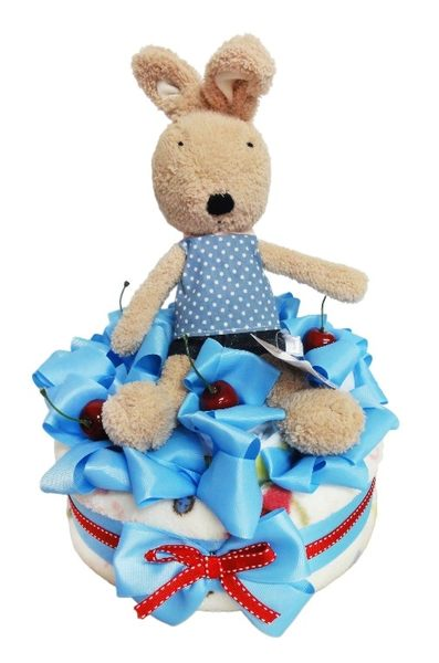 娃娃屋樂園~法國兔單層毛毯尿布蛋糕-藍色 每組1200元/生日蛋糕/彌月禮滿月禮週歲禮