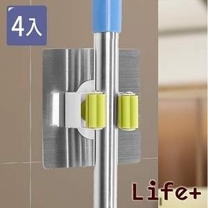 Life Plus 環保無痕魔力貼掛勾-拖把夾工具夾 4入(顏色隨機)