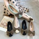 毛毛鞋秋冬毛毛鞋女外穿懶人鞋新款網紅平底毛毛鞋一腳蹬蝴蝶結單鞋聖誕交換禮物