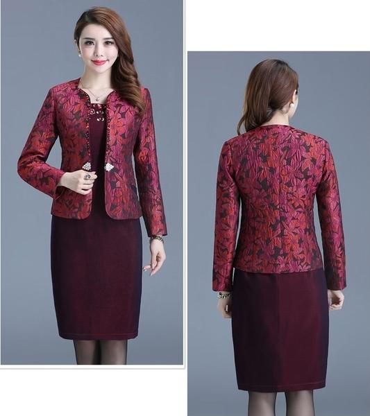 中大尺碼洋裝 媽媽裝紫紅色縫鑽兩件套婚宴禮服套裝 M-4XL #rs7032 ❤卡樂store❤