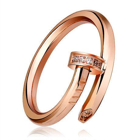 時尚玫瑰金鈦鋼釘子戒指女