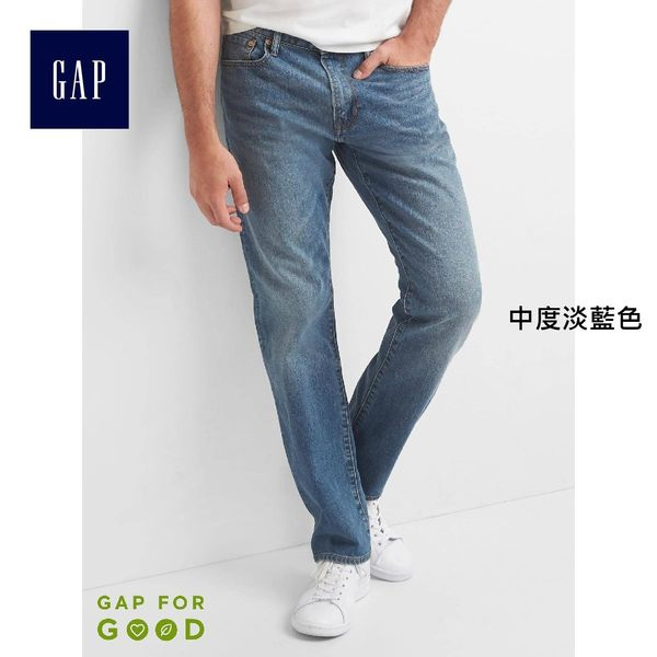 Gap男裝 1969牛仔系列直筒牛仔褲 男士彈力長褲 355308-中度淡藍色