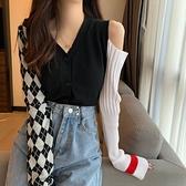 台灣現貨 季年新款小心機露肩針織開衫韓版外套V領長袖流行的上衣女
