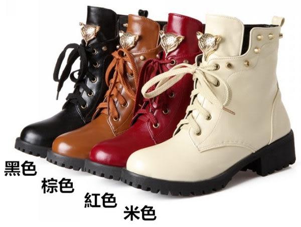 ✿ 3C膜露露 ✿ 歐美大牌帥氣鉚釘 英倫風狐狸頭短靴 金屬裝飾低跟馬丁靴女鞋