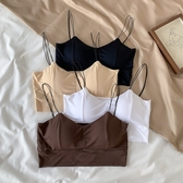 夏季新款韓版學生少女防走光帶胸墊吊帶裹胸冰絲美背抹胸內衣女潮