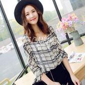 韓版裝時尚個性長袖格子襯衣雪紡襯衫上衣