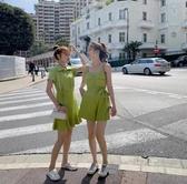 吊帶洋裝 夏裝年流行女裝新款裙子 綠色POLO領短袖連衣裙連體褲閨蜜裝-
