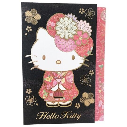 小禮堂 Hello Kitty 造型直式萬用卡片 祝賀卡 送禮卡 節慶卡 (黑紅 和服) 4711717-24797