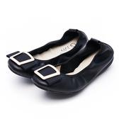 G.Ms. 方釦蝴蝶結牛皮彎折娃娃鞋-黑色