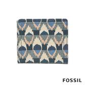 FOSSIL LOGAN 藍色調印花圖騰短夾 SL6306469