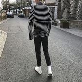 高領黑白條紋T恤男長袖學生潮流衣服冬季棉質打底衫男士t上衣限時八九折