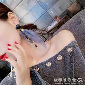 耳環  超仙羽毛耳環韓國氣質個性吊墜長款流蘇耳墜百搭復古耳飾耳釘女『歐韓流行館』