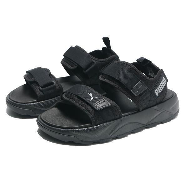 PUMA 涼鞋 RS -SANDAL 全黑 白LOGO 黏帶 魔鬼氈 休閒 女(布魯克林) 37486202