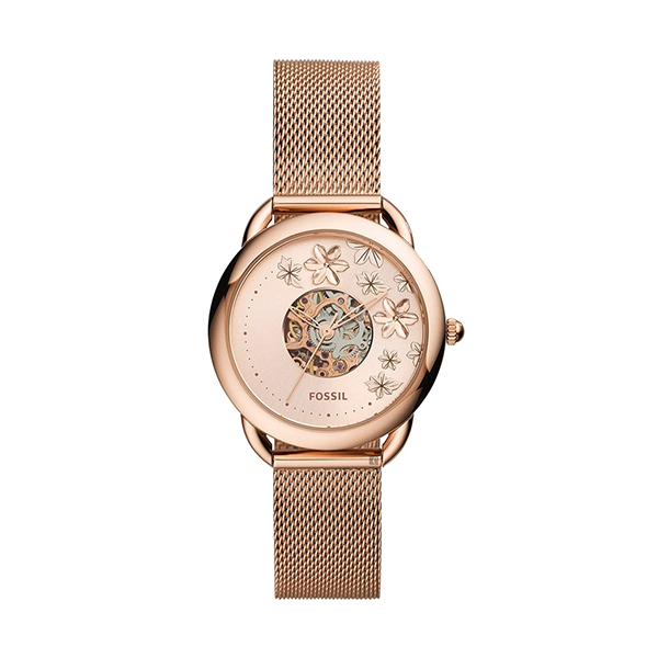 【Fossil】Tailor花卉玫瑰金機械米蘭腕錶-玫金款/ME3187/台灣總代理公司貨享兩年保固