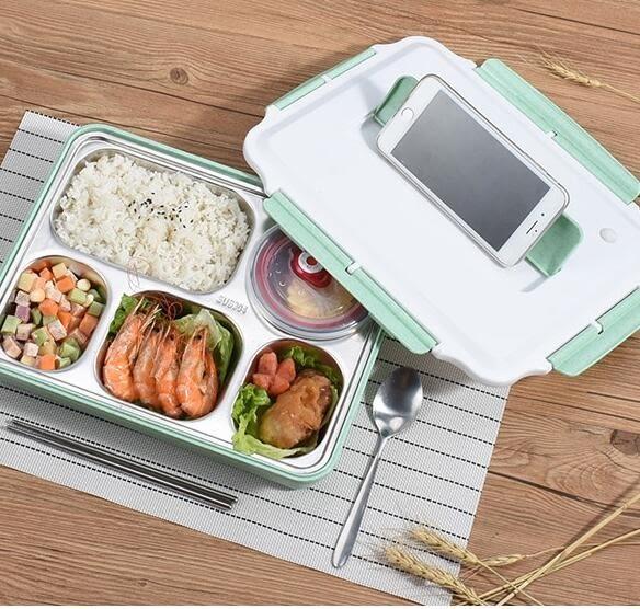 便當盒 304不鏽鋼保溫飯盒食堂簡約學生便當盒帶蓋韓國學生餐盒分格餐盤【快速出貨八折搶購】