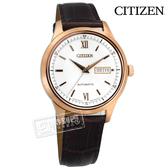 CITIZEN 星辰表 / NY4053-05A / 藍寶石水晶 自動上鍊 機械錶 壓紋牛皮手錶 銀x玫瑰金框x咖啡 40mm