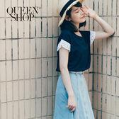 Queen Shop【01130092】素色袖簍空花邊造型上衣 兩色售*預購*