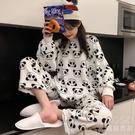 睡衣女冬秋季加厚珊瑚絨可愛熊貓法蘭絨卡通少女風家居服保暖套裝 新年禮物 新年禮物