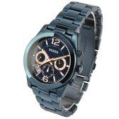 FOSSIL 海軍藍中性不鏽鋼三眼計時腕錶40mm(ES4093)270406