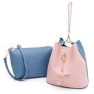 PLAYBOY- 手提包(可做斜背包使用) 拼接子母包系列 - 藍色