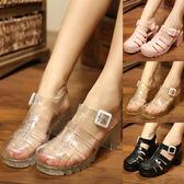 韓國果凍鞋女涼鞋夏學生透明水晶塑料中高跟羅馬防滑包頭沙灘洞洞    西城故事