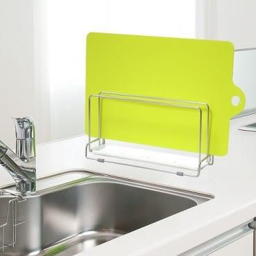 日本LEC不鏽鋼雙層砧板架+可彎曲薄砧板(芥末綠色)1片