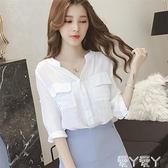 七分袖上衣 港味小清新白色襯衫女寬鬆襯衣春夏裝新款韓版超仙V領七分袖上衣 愛丫 新品