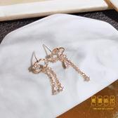 玫瑰金耳環韓國氣質云朵耳釘簡約純銀耳飾流蘇鋯石耳墜【輕奢時代】