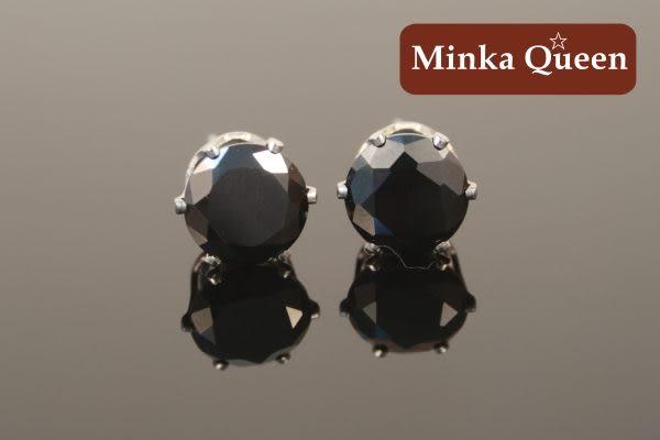 德國鈦鋼黑色蘇聯鑽抗敏耳環(一對)(6 mm)