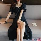 熱賣大碼洋裝 大碼女裝夏季法式名媛泡泡袖過膝連身裙減齡遮肚上衣短袖t恤長裙 coco