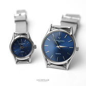 Valentino范倫鐵諾 質感深藍超薄鋼索手錶腕錶對錶 輕巧無負擔【NEV1】單支價格