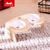 寵物碗-寵物餐桌斜口保護頸椎陶瓷貓碗貓咪食盆狗飯碗貓糧雙碗狗狗碗用品 花間公主
