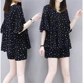兩件式褲裝 大碼夏裝減齡休閒遮肉兩件套時尚氣質短褲套裝女潮-Ballet朵朵
